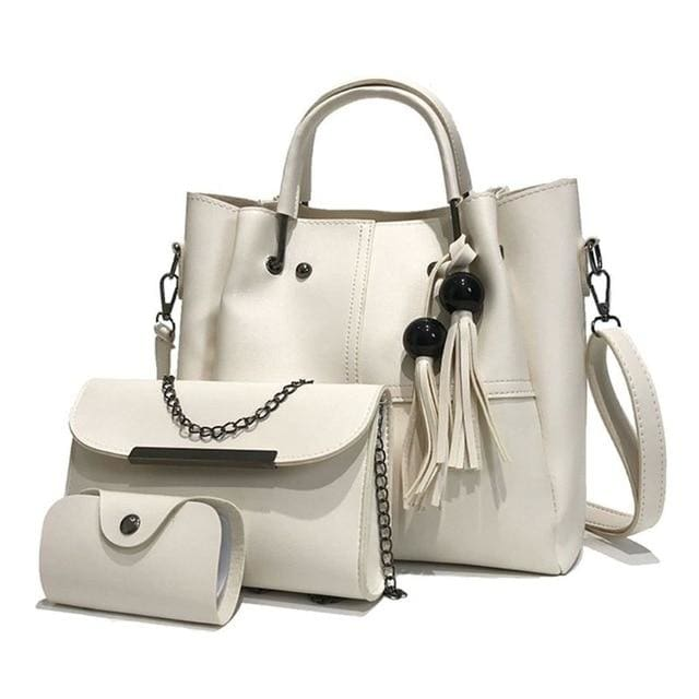 Tassel shoulder bags 3pcs - White - Women_Bags
