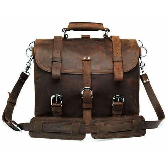 Thick crazy horse leather travel bag - brown - Men_Briefcase