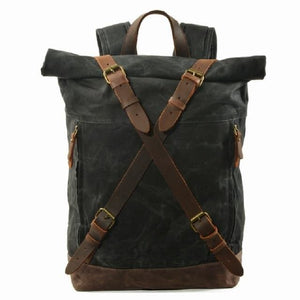 Vintage canvas backpacks waterproof - Black - Backpacp_Oct