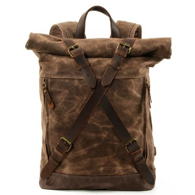Vintage canvas backpacks waterproof - Coffee - Backpacp_Oct
