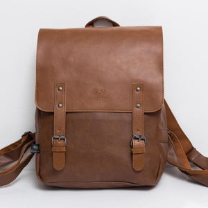 Vintage PU leather men leisure backpack - light coffee - backpack