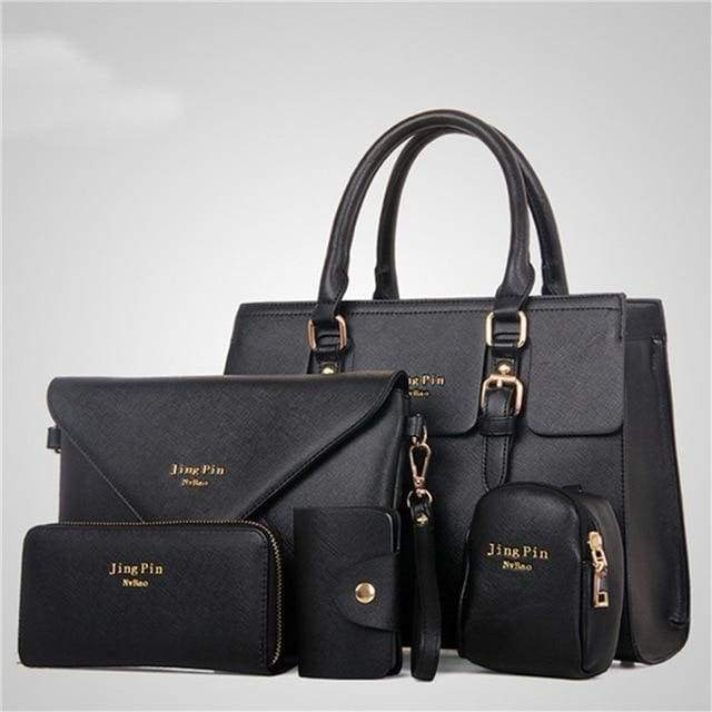 Women 5 Piece/set Handbag Purse Set - black