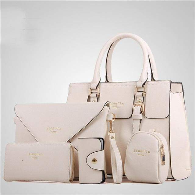Women 5 Piece/set Handbag Purse Set - creamy white