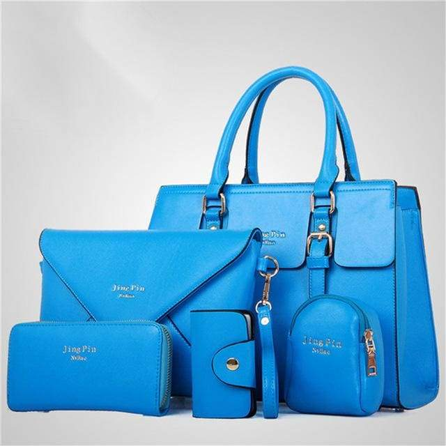 Women 5 Piece/set Handbag Purse Set - Lake Blue