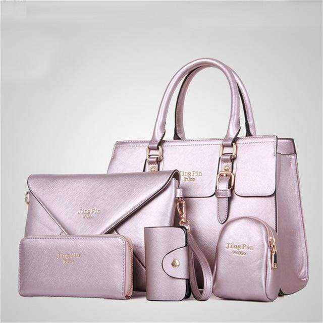 Women 5 Piece/set Handbag Purse Set - Light purple