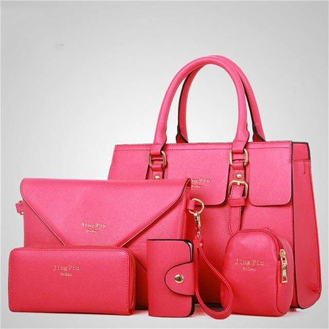 Women 5 Piece/set Handbag Purse Set - rose Red