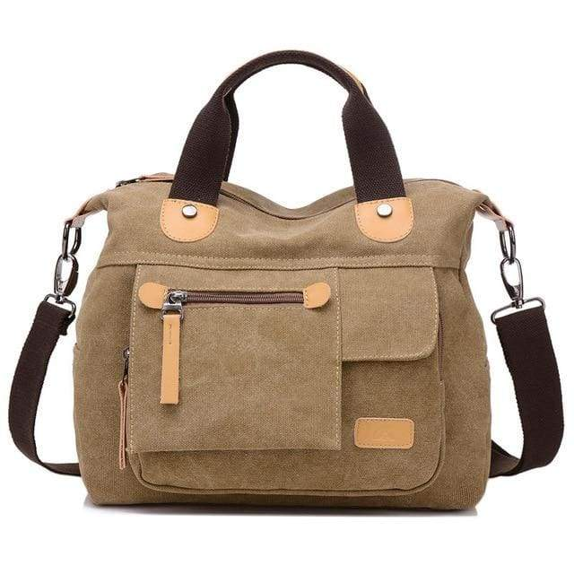 Women bag canvas messenger bags - Khaki / (20cm<Max Length<30cm) - Canvas_Tote_2020