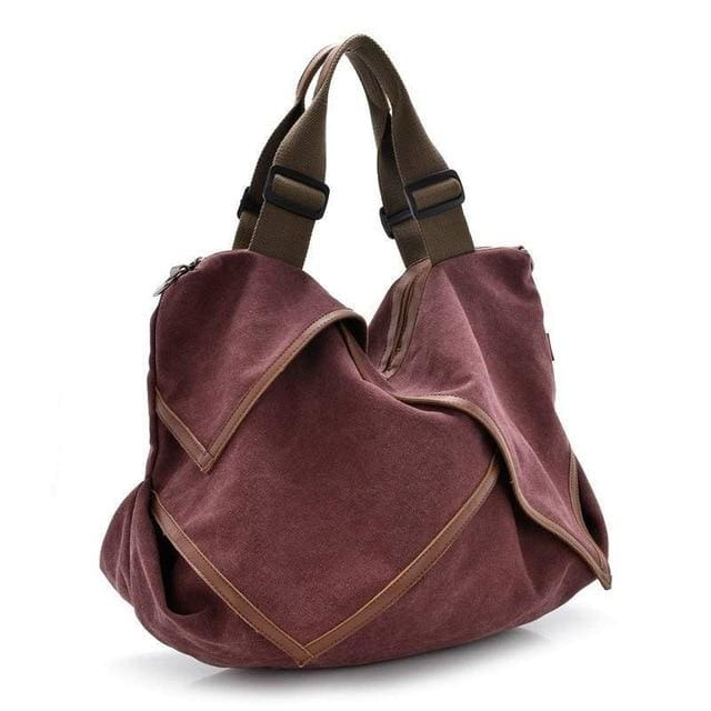 Women bag Canvas Tote crossbody - wine red - Canvas_Tote_2020