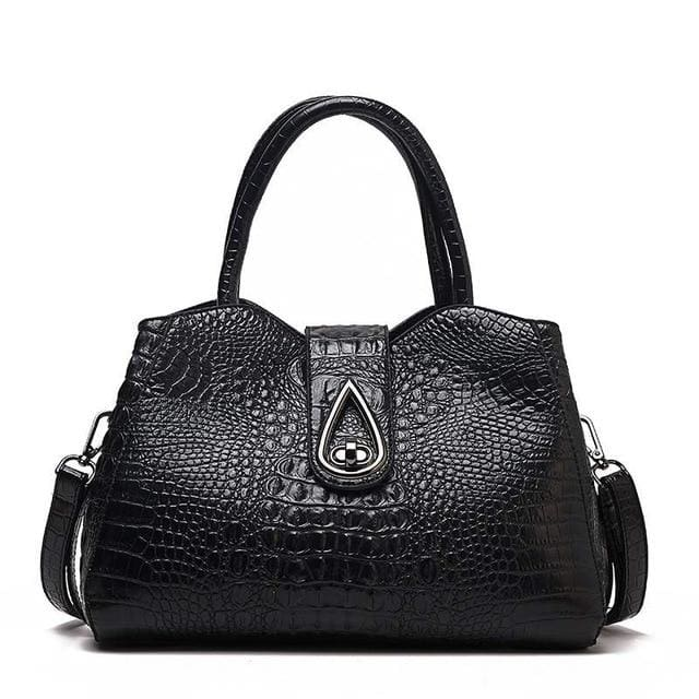 Women Bags Designer Fashion Crocodile Pattern - Black Three - Canvas_Tote_2020