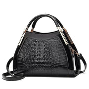 Women Bags Designer Fashion Crocodile Pattern - Black Two - Canvas_Tote_2020