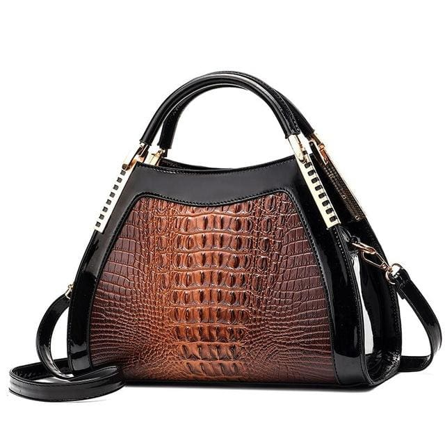 Women Bags Designer Fashion Crocodile Pattern - Brown Two - Canvas_Tote_2020