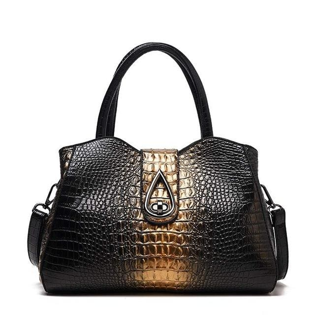 Women Bags Designer Fashion Crocodile Pattern - Gold Three - Canvas_Tote_2020