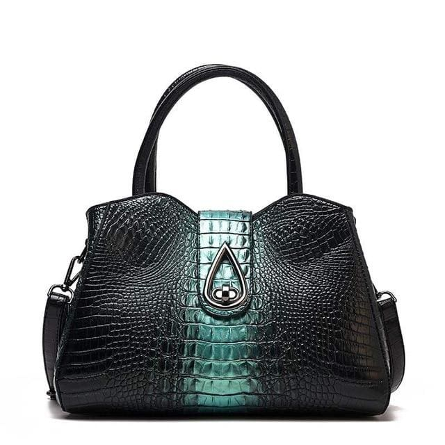 Women Bags Designer Fashion Crocodile Pattern - Green Three - Canvas_Tote_2020
