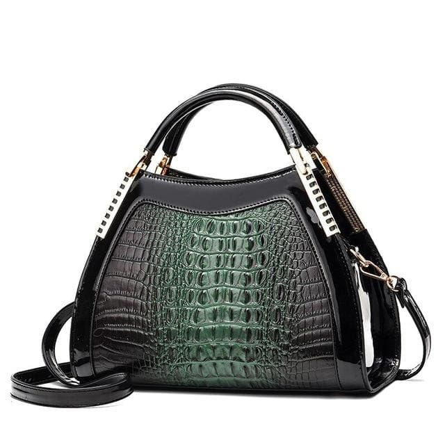 Women Bags Designer Fashion Crocodile Pattern - Green Two - Canvas_Tote_2020