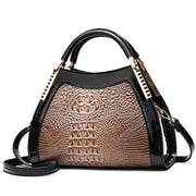 Women Bags Designer Fashion Crocodile Pattern - Khaki Two - Canvas_Tote_2020