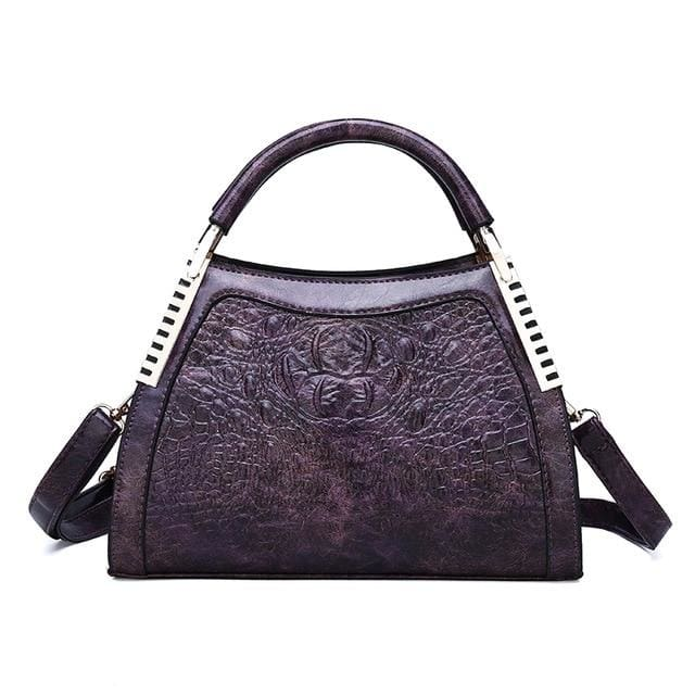 Women Bags Designer Fashion Crocodile Pattern - Purple One - Canvas_Tote_2020