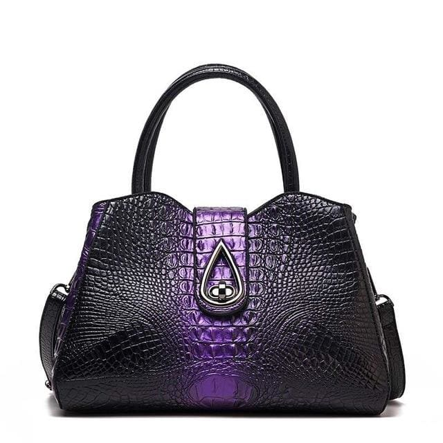 Women Bags Designer Fashion Crocodile Pattern - Purple Three - Canvas_Tote_2020