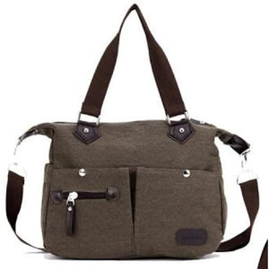 Women canvas large capacity luggage bag - coffee - Canvas_Tote_2020