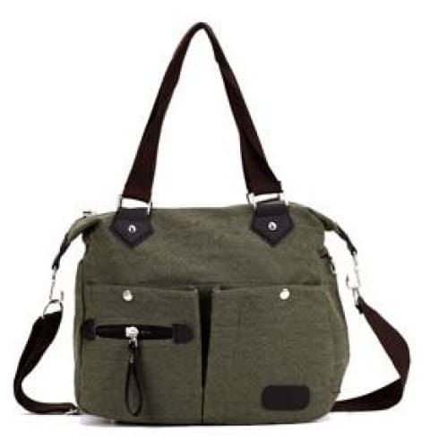 Women canvas large capacity luggage bag - green - Canvas_Tote_2020