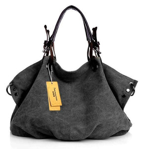 Women canvas messenger crossbody bags tote - Black - Canvas_Tote_2020