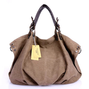 Women canvas messenger crossbody bags tote - Coffee - Canvas_Tote_2020