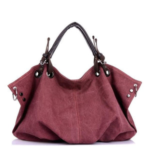 Women canvas messenger crossbody bags tote - Purple - Canvas_Tote_2020