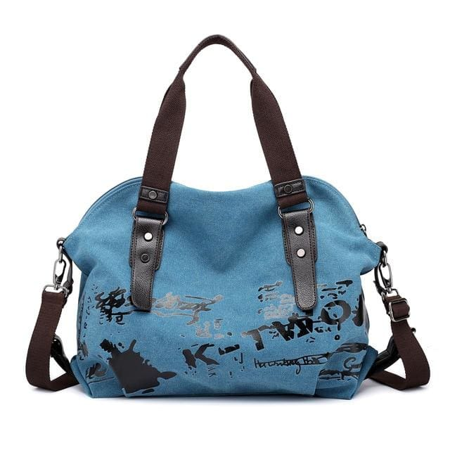 Women crossbody bags large casual tote - Blue - Canvas_Tote_2020