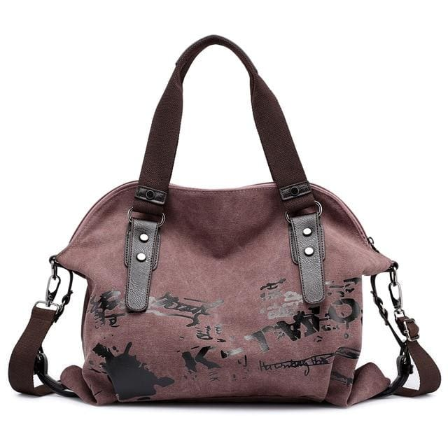 Women crossbody bags large casual tote - Brown - Canvas_Tote_2020