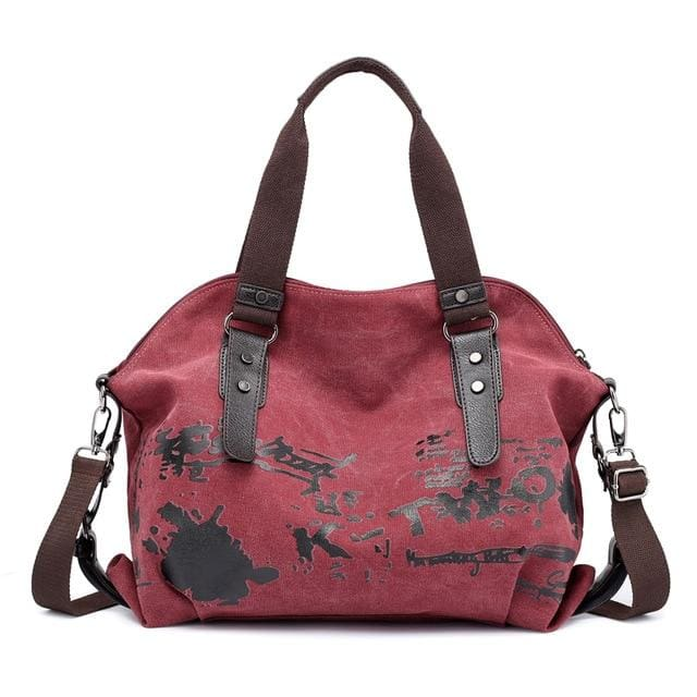Women crossbody bags large casual tote - purple coffee - Canvas_Tote_2020