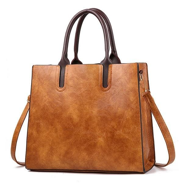 Women large capacity vintage hand Top-Handle - Brown Hand Bag / 32 x 15 x 26cm - Women_Bags