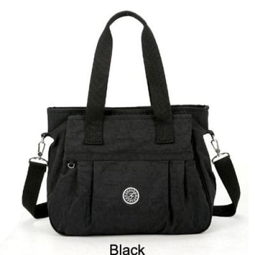 Women nylon handbag crossbody - Black - Canvas_Tote_2020
