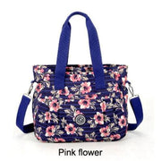 Women nylon handbag crossbody - Pink flower - Canvas_Tote_2020