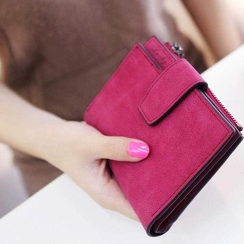 Women Purse Solid Color Mini Grind Magic - Hot Pink - wallet