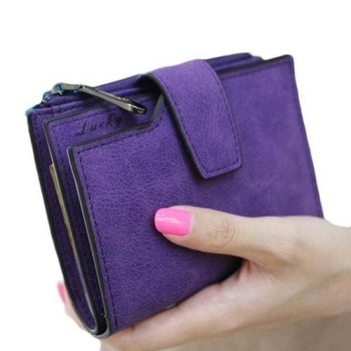 Women Purse Solid Color Mini Grind Magic - Purple - wallet