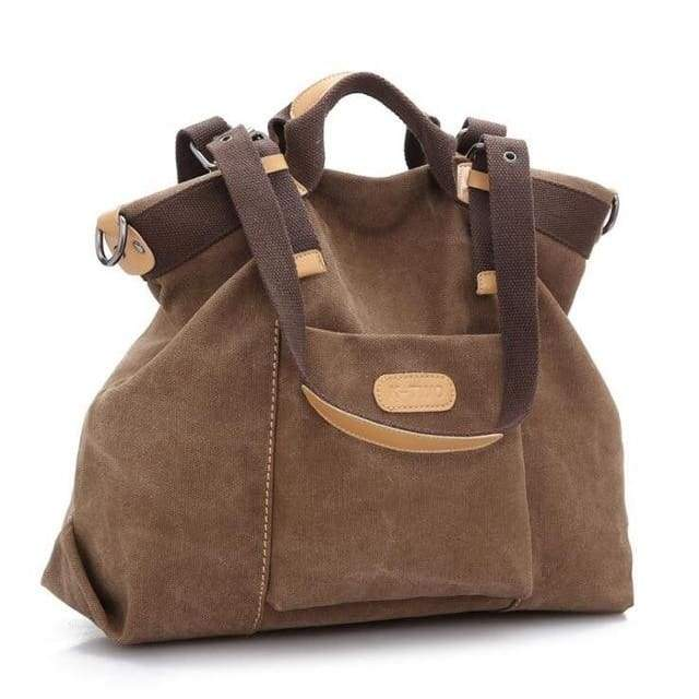 Women shoulder canvas Bag tote - Brown / (30cm<Max Length<50cm) - Canvas_Tote_2020