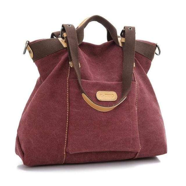 Women shoulder canvas Bag tote - Burgundy / (30cm<Max Length<50cm) - Canvas_Tote_2020