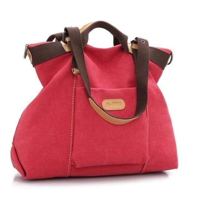 Women shoulder canvas Bag tote - Red / (30cm<Max Length<50cm) - Canvas_Tote_2020