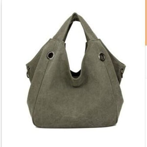 Women solid shoulder bag canvas - Army Green - Canvas_Tote_2020