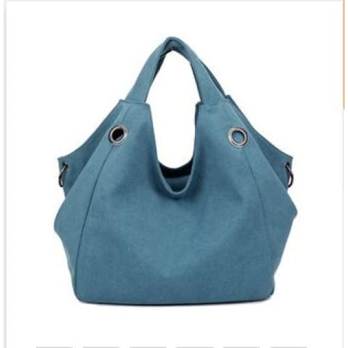 Women solid shoulder bag canvas - blue - Canvas_Tote_2020