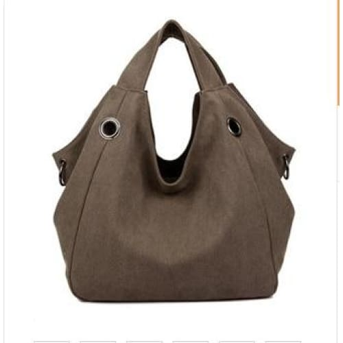 Women solid shoulder bag canvas - coffee - Canvas_Tote_2020
