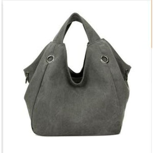 Women solid shoulder bag canvas - grey - Canvas_Tote_2020
