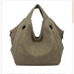 Women solid shoulder bag canvas - khaki - Canvas_Tote_2020