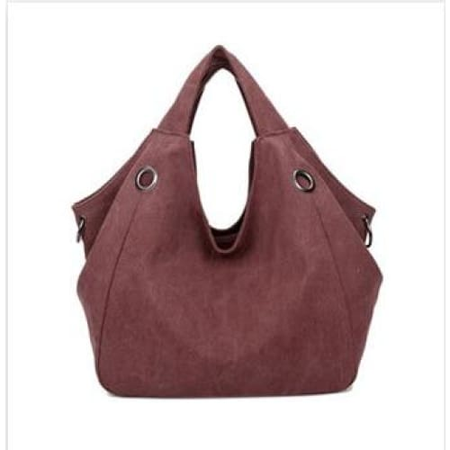 Women solid shoulder bag canvas - wine red - Canvas_Tote_2020