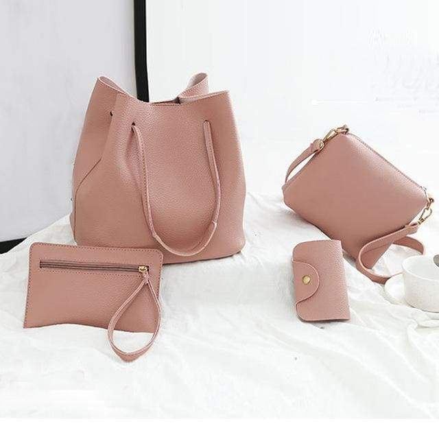 Women unique pattern leather 4pcs - Handbags