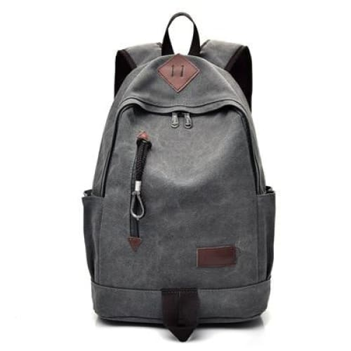 Women Vintage Travel Rucksack - Gray - Backpacp_Oct