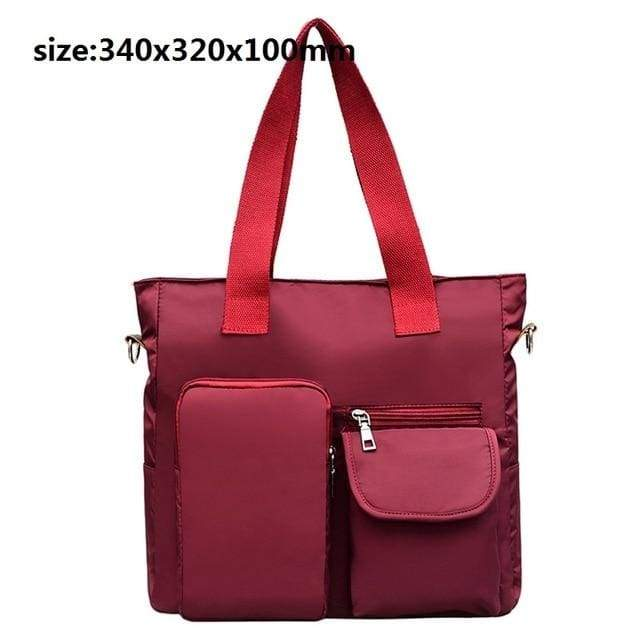 Women waterproof handbag nylon tote - red 3 / United States / (30cm<Max Length<50cm) - Canvas_Tote_2020