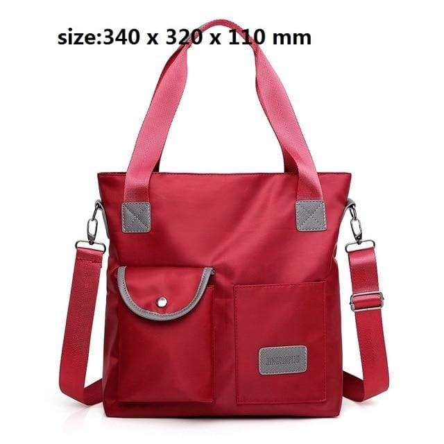 Women waterproof handbag nylon tote - red / United States / (30cm<Max Length<50cm) - Canvas_Tote_2020