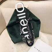 Womens handbag velvet tote - Green - Women_Bags