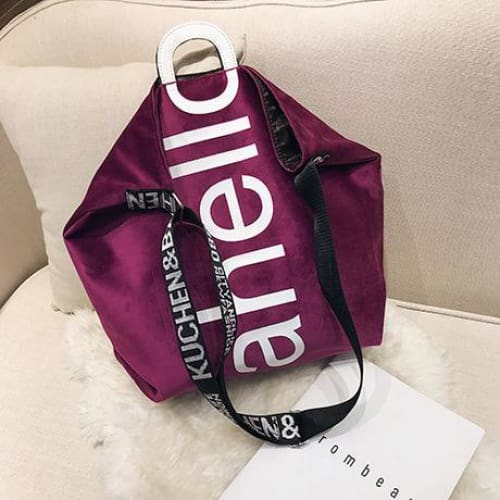 Womens handbag velvet tote - Purple - Women_Bags