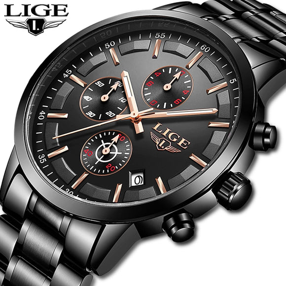 LIGE Watch Men Top Brand Luxury Chronograph Male Sport Watch Quartz Clock Stainless Steel Waterproof Men Watch Relogio Masculino